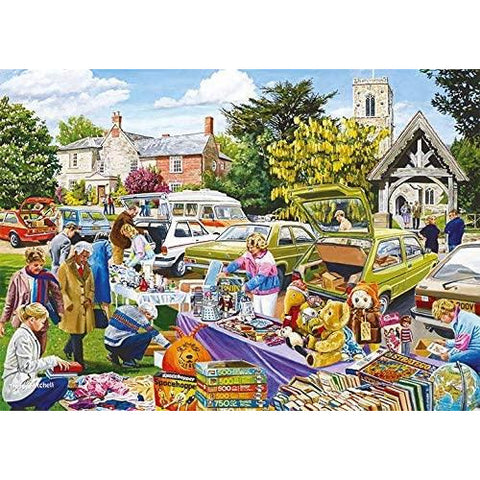 Image of Village Church Car Boot Sale | 500 Piece Jigsaw Puzzle | Falcon de Luxe