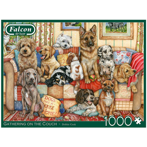 1000 Piece Adult Jigsaw Puzzle | Gathering on the Couch-Dogs | Falcon de luxe
