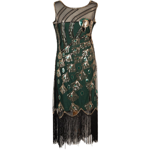 1920s Dresses for Women - Green  Sequin Evening Dress UK 8-16
