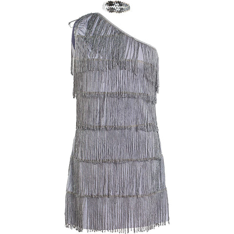 1920s Grey Flapper Fancy Dress Costume UK Sizes 8-16