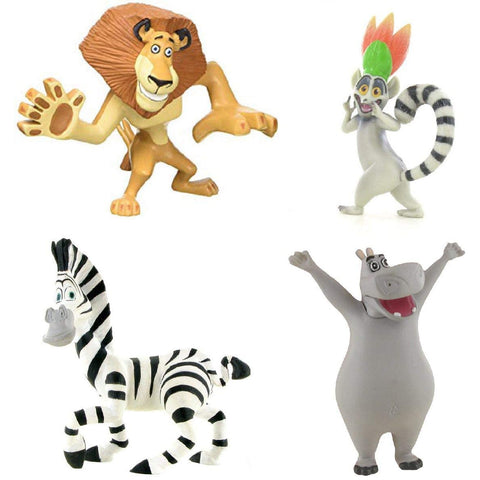 Madagascar mini figure toys - Alex, Marty, King Julien