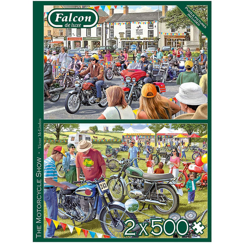 Image of 500 Piece Jigsaw Puzzle | The Motorcycle Show | 2 x 500 piece Falcon de Luxe