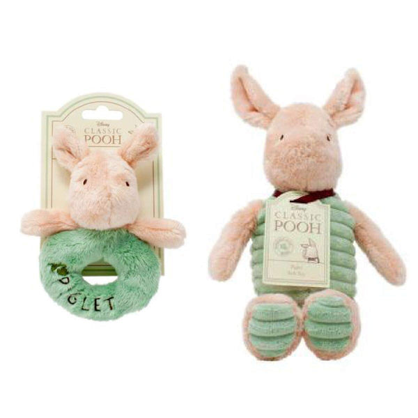 Piglet Rattle and soft toy set-pooh