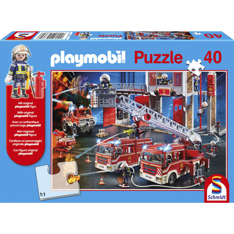 Image of Playmobil | Fire Engine 40 Piece Jigsaw |  Play Figure Included