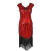 1920s Dresses for Women - Red Sequin Evening Dress UK 8-14
