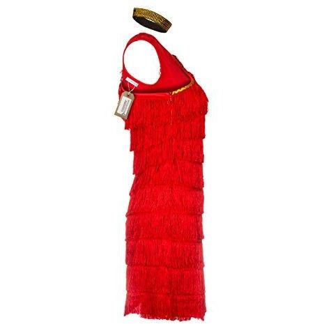 1920s Red Flapper Fancy Dress Costume UK Sizes 8-14