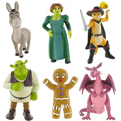 Shrek mini figure toys - Fiona, Shrek, Donkey, Dragon, Ginger and Puss in Boots