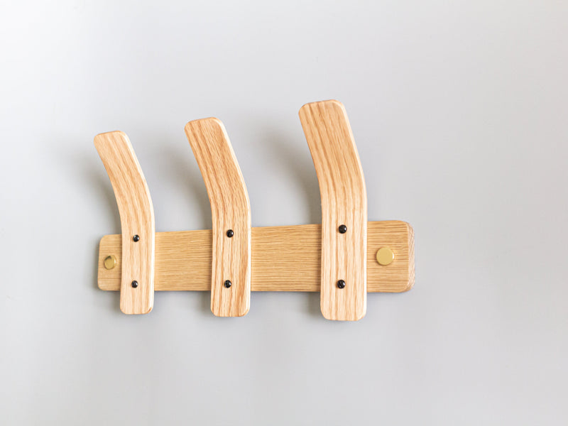 Oak Coat Rack | BL Tordu Brass