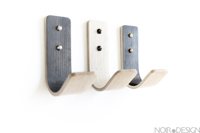 Set of 3 Twisted Wall Hooks | Black | Grey | White | By Tordu