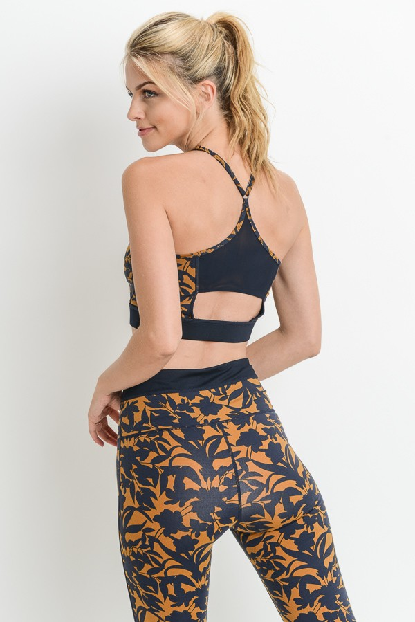Damask Print Mesh Back Sports Bra