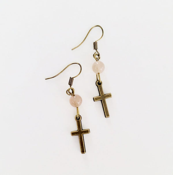 Bronze Cross Earrings