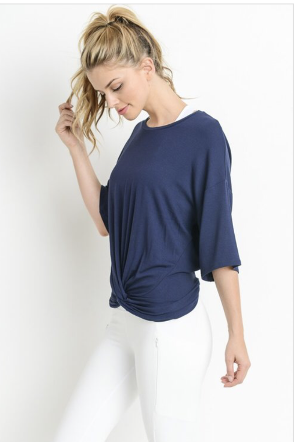 Navy Front Knot Top