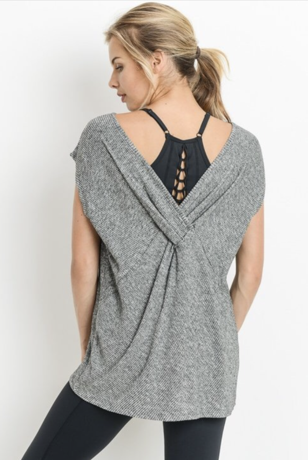 Cross Back Gray Top