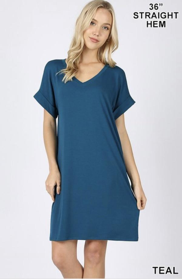 Teal Short Sleeve Dress