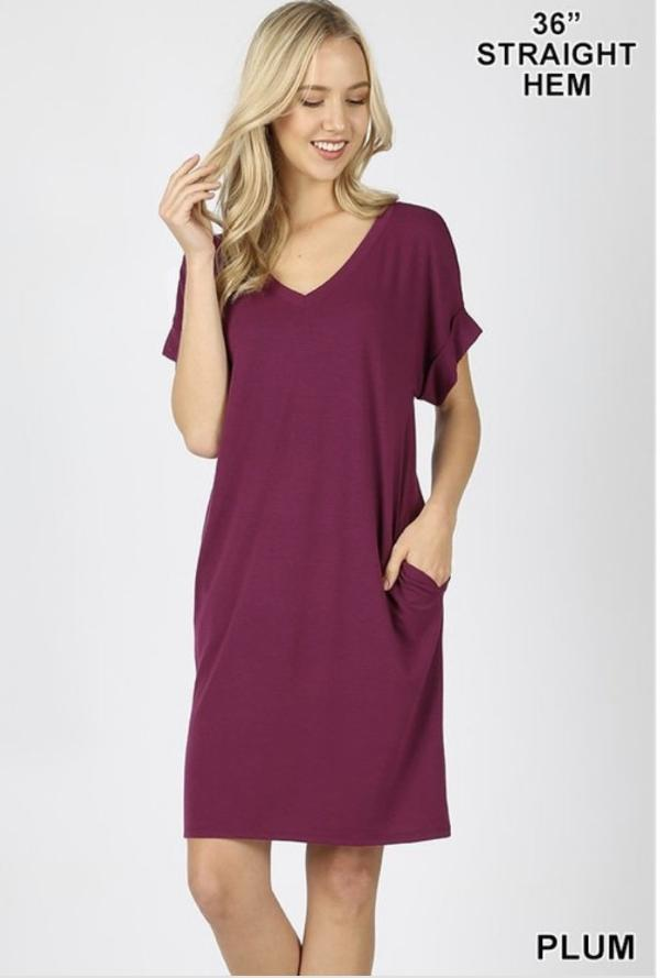 Plum Short Sleeve Dress