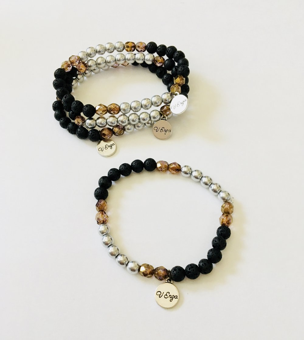 Essential Oil Bracelet (Wood/Crystal/Lava)