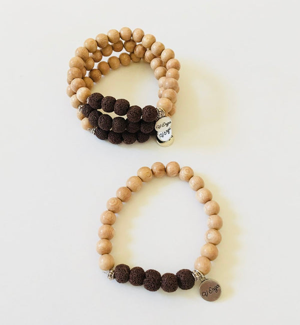 Essential Oil Bracelet Brown (Wood/Lava)
