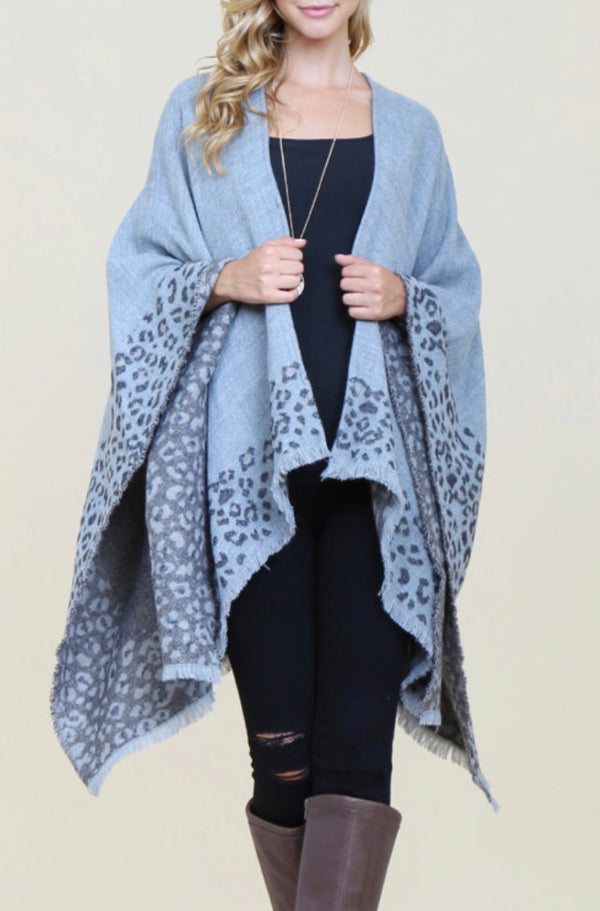 Gray Haze Animal Print Shawl
