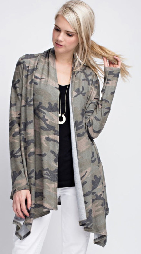 Camo Waterfall Cardigan