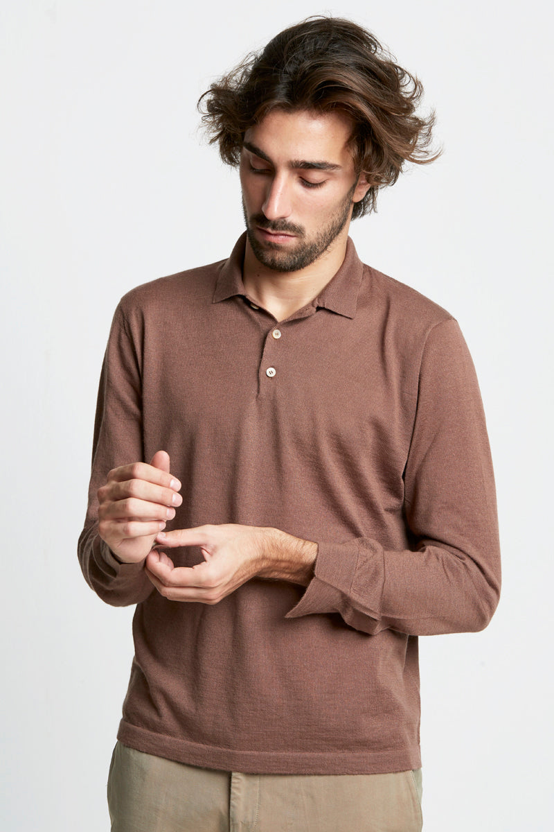 Pullover-Maglieria uomo - Polo in cashmere e seta-S / LIGHT BROWN