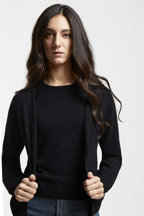Twinset-Bianca - Twinset in cashmere blend-S / Nero
