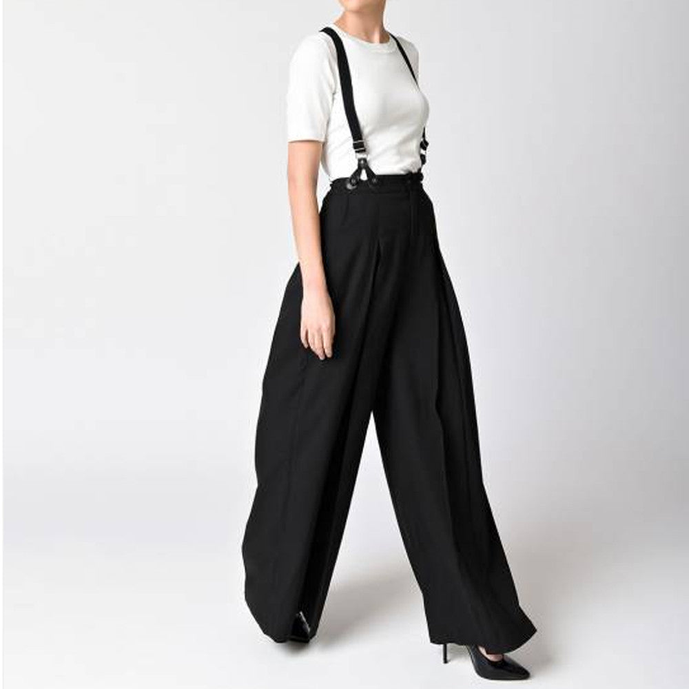 7d8f7eef35 Wide leg trousers with braces