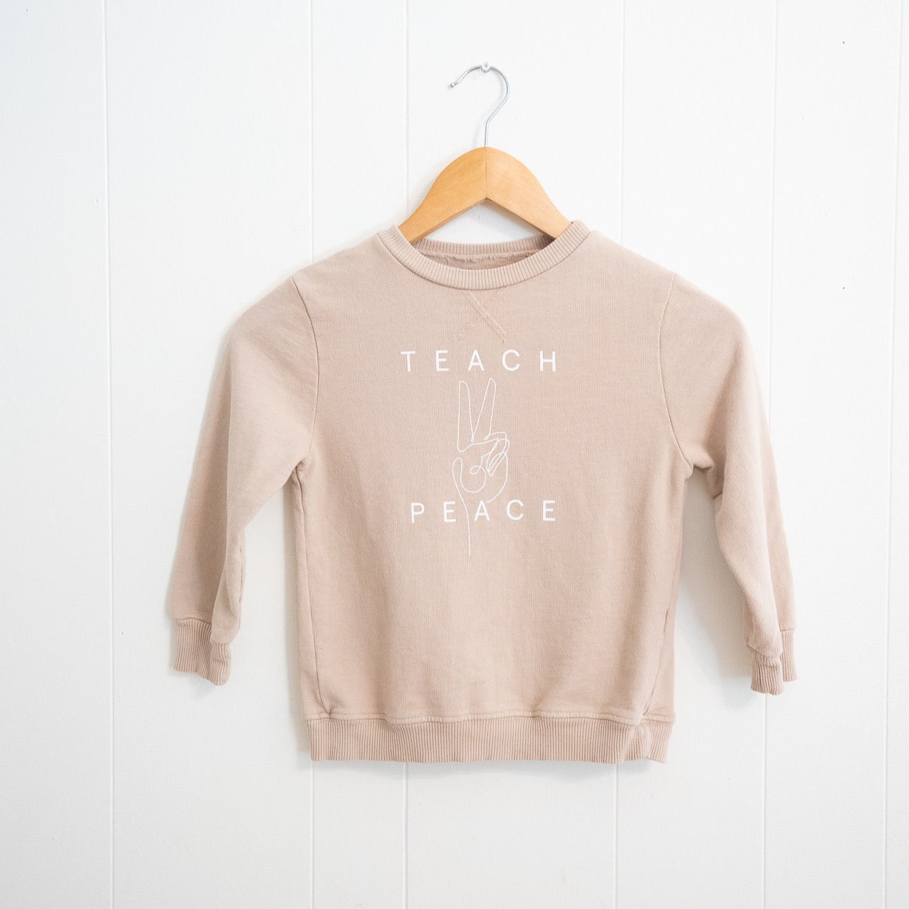 Teach Peace Kiddo Sweatshirt | Cream