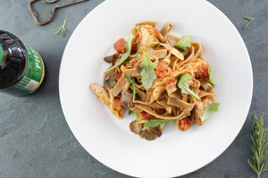 Toasted Farro Fettuccine with Chicken & Mushroom Ragu