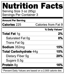 Sprouted Brown Rice Pasta Nutrition Label