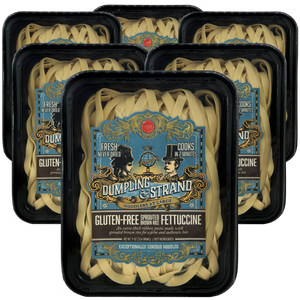 Case of Dumpling & Strand's freshly frozen Sprouted Brown Rice Gluten-free Fettuccine Pasta