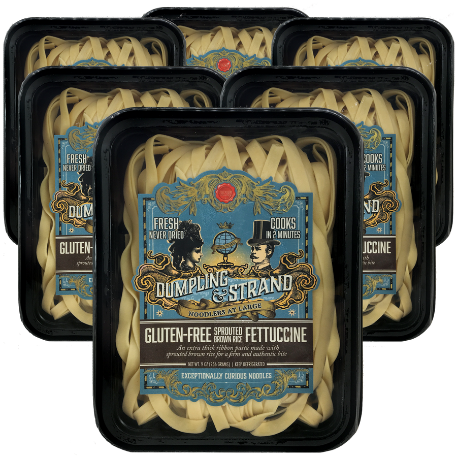 Dumpling & Strand's freshly frozen Sprouted Brown Rice Gluten-free Fettuccine Pasta