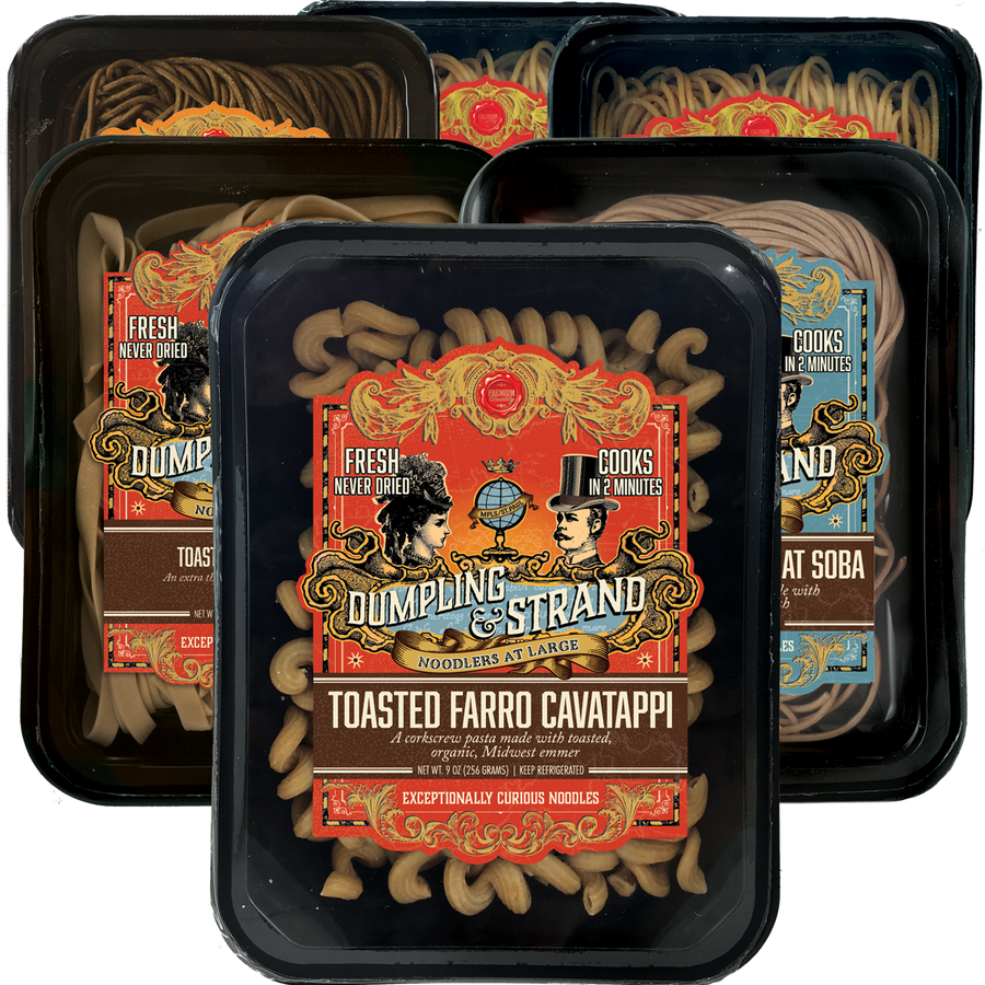 Mixed Case of Dumpling & Strand's freshly frozen whole grain pasta and noodles