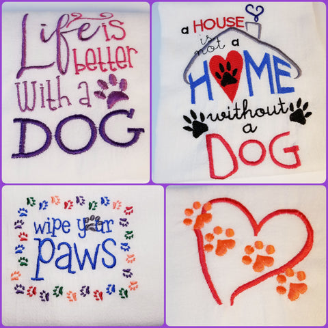 Dog and Cat Theme Embroidered Kitchen Towel Flour Sack Towel