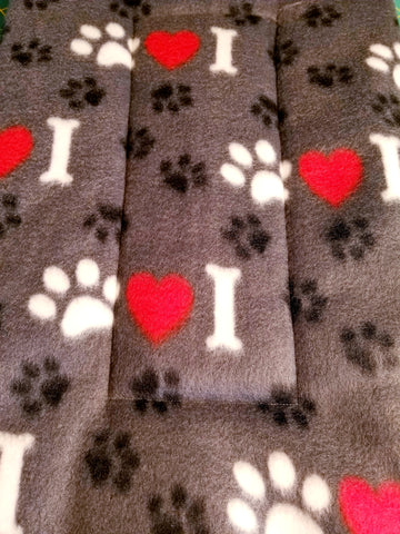 Fleece Dog Bed/Crate Mat I Love Paws