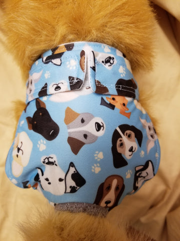 Waterproof Absorbent Dog Diaper Blue Dog Print Washable Reusable