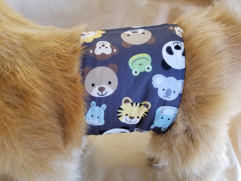 Waterproof Absorbent Belly Band for Dogs Zoo Animal Print