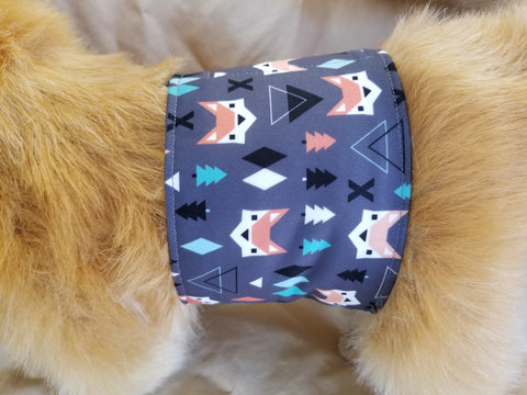 Waterproof Absorbent Belly Band for Dogs Fox Print