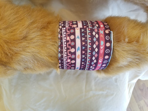 Waterproof Absorbent Belly Band for Dogs Burgundy Tribal Print