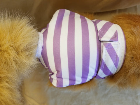 Waterproof Absorbent Dog Diaper Purple Stripe Washable Reusable