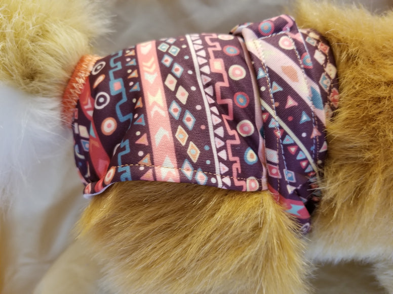 Waterproof Absorbent Dog Diaper Burgundy Tribal Print Washable Reusable