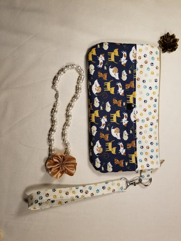 Cute Cats Wristlet Mini Purse Dark Blue