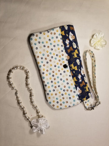 Cute Cats Wristlet Mini Purse Navy and White