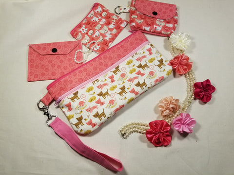 Playful Cats Wristlet and Accessories Set Handmade