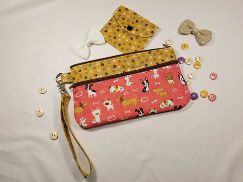 Playful Dogs Wristlet and Mini Wallet Set Handmade
