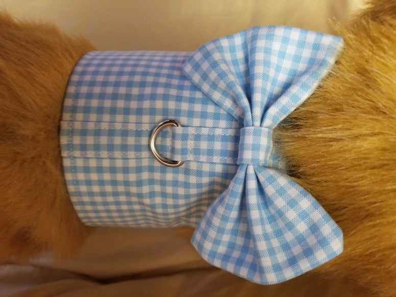 Blue Gingham Dog Harness with Bow Tie