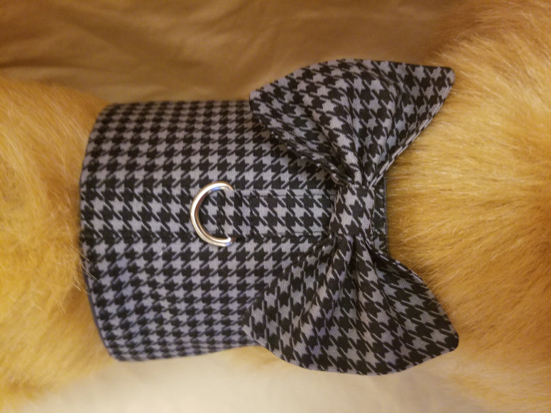 Gray and Black Houndstooth Dog Harness with Bow Tie