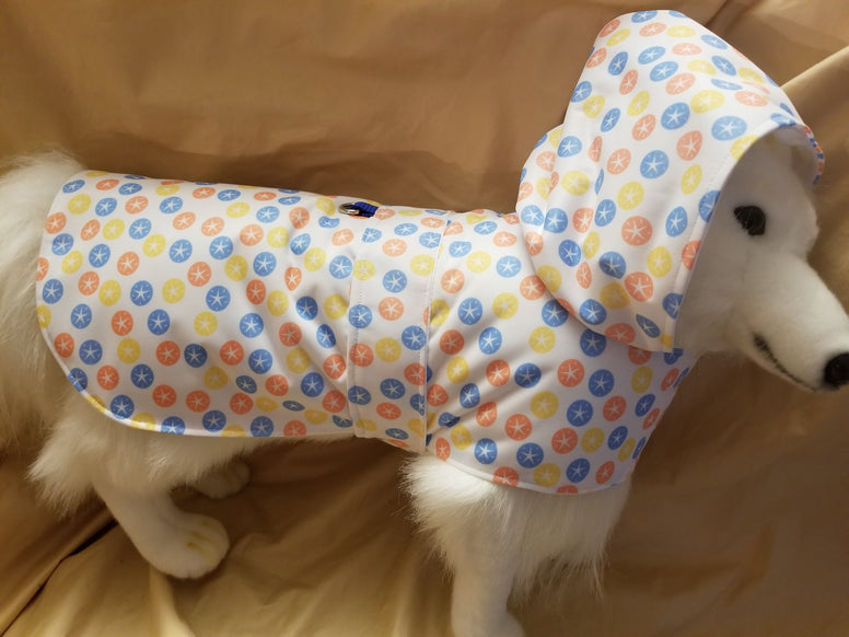 Fully Lined Bold Sand Dollar Raincoat for Dogs