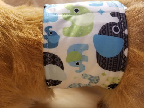 Waterproof Absorbent Belly Band for Dogs Blue Elephant Print