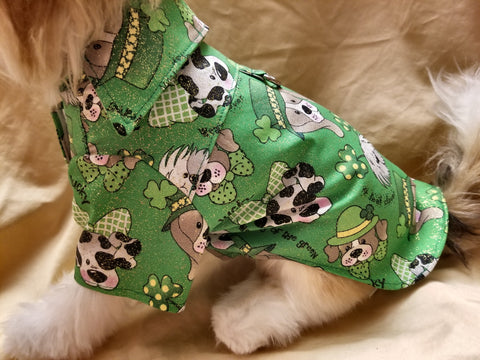 St Patrick's Day Green & Gold Sparkle Dress Shirt for Dogs