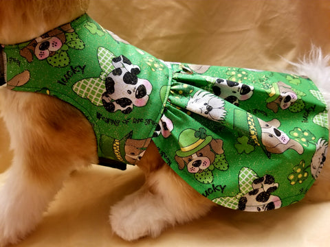 St Patrick's Day Green & Gold Sparkle Dog Dress